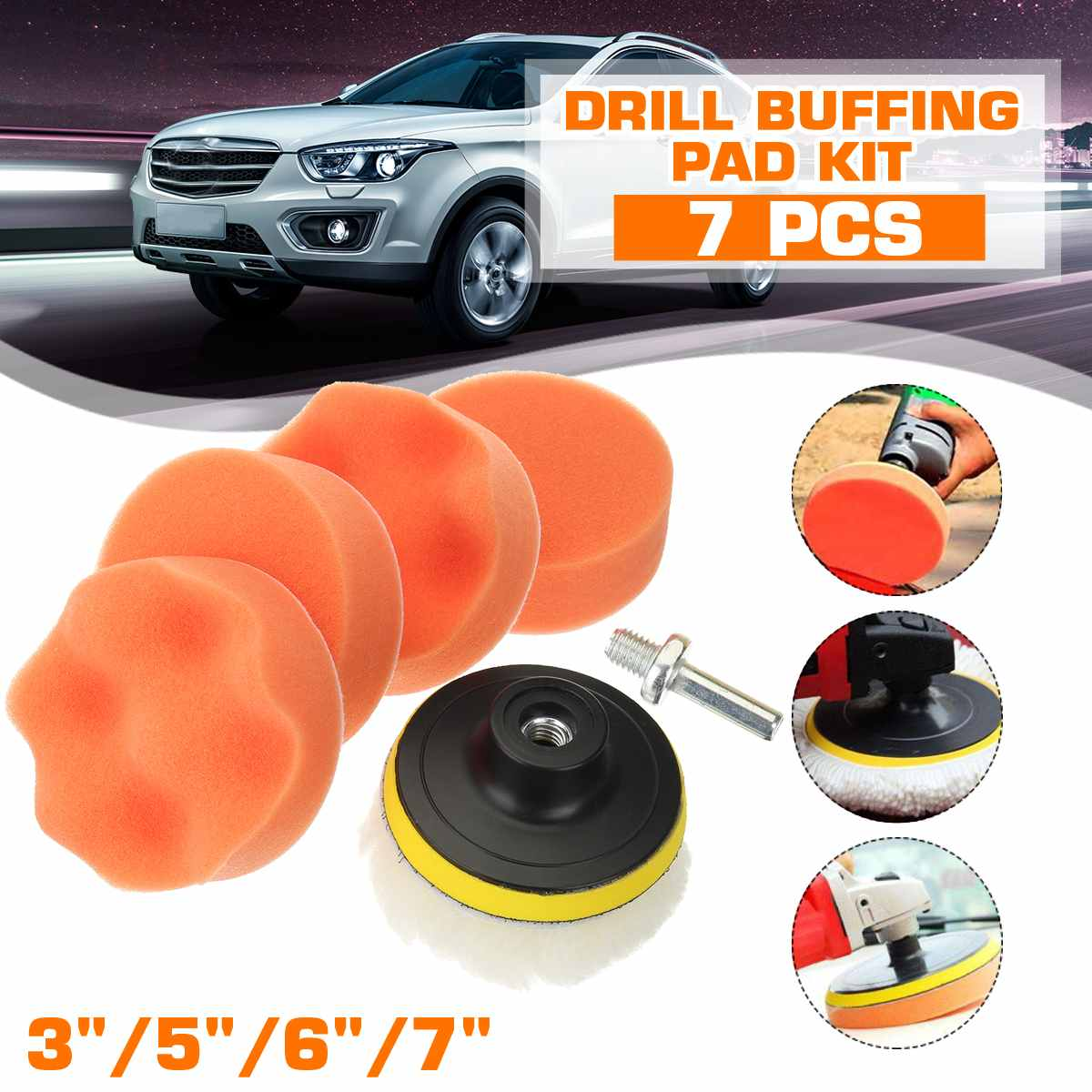 7 inch Waxing Pad Sets Tool for Car Polisher Buffer with Drill Adapter Car-styling Auto Car Polished Pad Kit