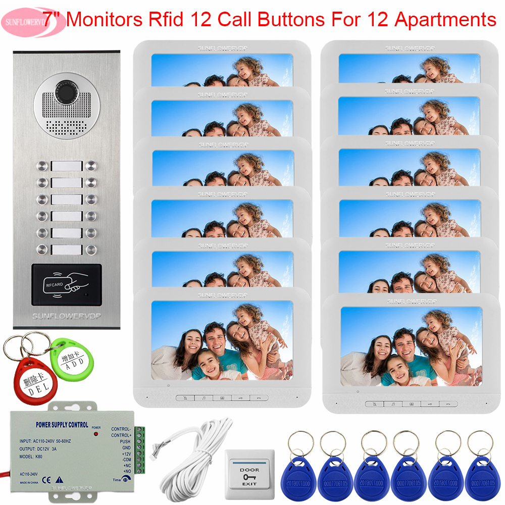 For 12 Apartments Access Control Intercoms For A Private House Video Doorbell With Monitors 7inch Video Intercom Intercom System