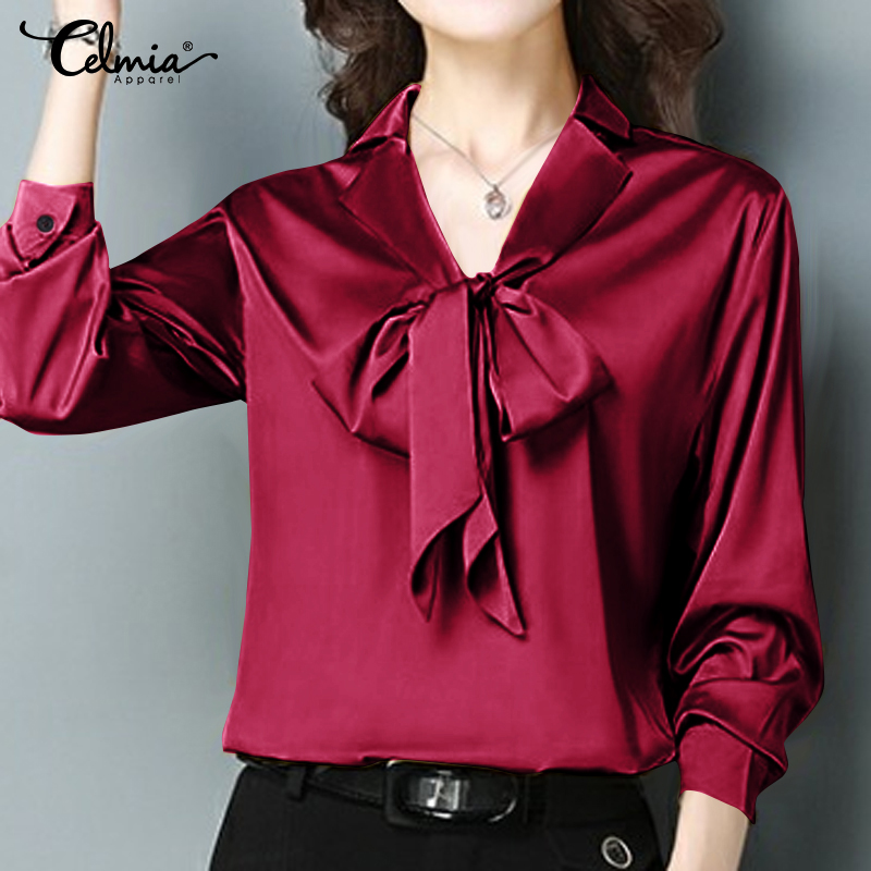 Celmia Women's Satin Blouses 2019 Elegant OL Shirts Long Sleeve Casual Loose Bow Tie Ladies Office Tops Solid Silk Blusas S-5XL