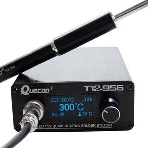 Image 1 - T12 956 はんだデジタルステーション電子はんだごて OLED 1.3 でインチ M8 金属製のハンドルと T12 はんだごてのヒント