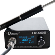 T12 956 Solderen Digitale Station Soldeerbout OLED 1.3inch met Zwarte M8 Metalen handvat en T12 soldeerbout tips