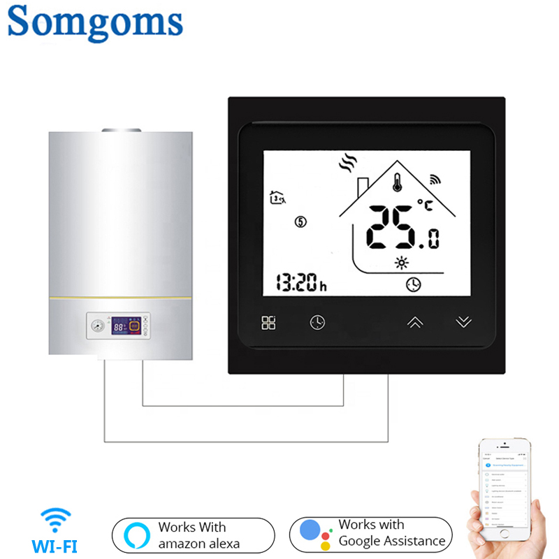 BHT-002 Tuya Wifi Smart Gas Boiler Thermostat 3A Temperature APP Remote Control For Water/gas Boiler Work With Alexa Google Home