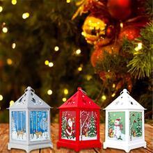 Christmas Deer Snowman Led Lantern Christmas Tree Pendant Light Led Candle Tea Light Christmas Home Navidad New Year Decoration