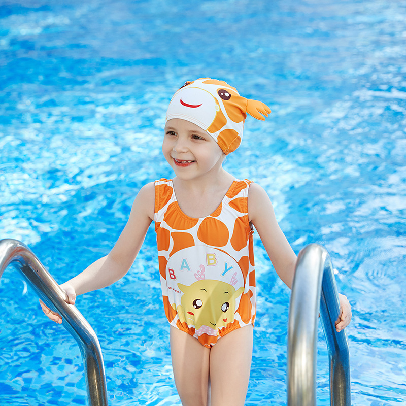 2019 New Style Miss Sunshine Fashion Cartoon Giraffe Triangular One-piece Hooded Medium-small Girls KID'S Swimwear