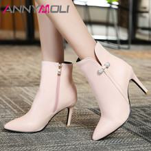 ANNYMOLI Women Boots Autumn Ankle Crystal Stiletto Heel Short Zipper Super High Shoes Lady Winter Plus Size 46