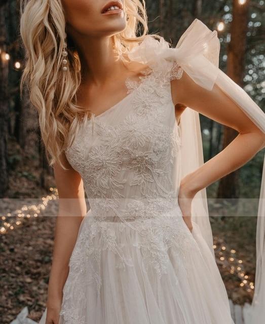 2021 One Shoulder Pleated Beading Applique Lace Wedding Dresses Sweep Train Tulle Bride Gowns Vestido De Novia 3
