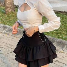 Retro cor sólida cintura alta sexy oco verão nova saia preta saia curta babados a linha saia da mulher saias