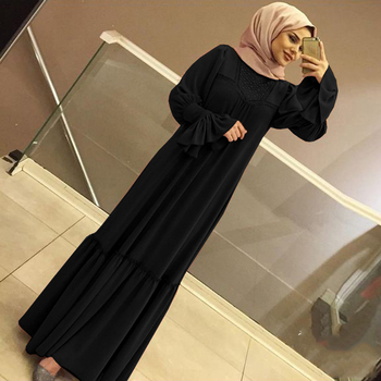 Muslim Women Hijab Dress Solid Color Ruffle Petal Sleeve Maxi Long Dress Islamic Clothing Caftan
