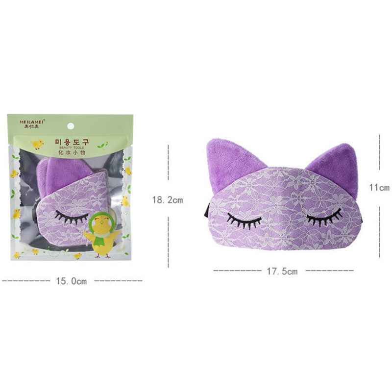 Creative Cartoon Cat รูปแบบขนตา Lace Shield Blackout Breathable Sleep Eyes ปก