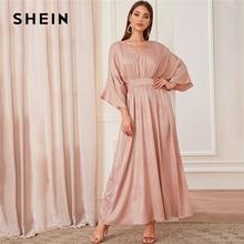SHEIN Abaya Pink Batwing Sleeve Floral Modest Maxi Dress Women Spring Autumn Solid V Neck A Line High Waist Elegant Dresses