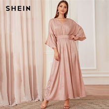 SHEIN Abaya Roze Batwing Mouw Bloemen Modest Maxi Jurk Vrouwen Lente Herfst Solid V hals EEN Lijn Hoge Taille Elegante jurken