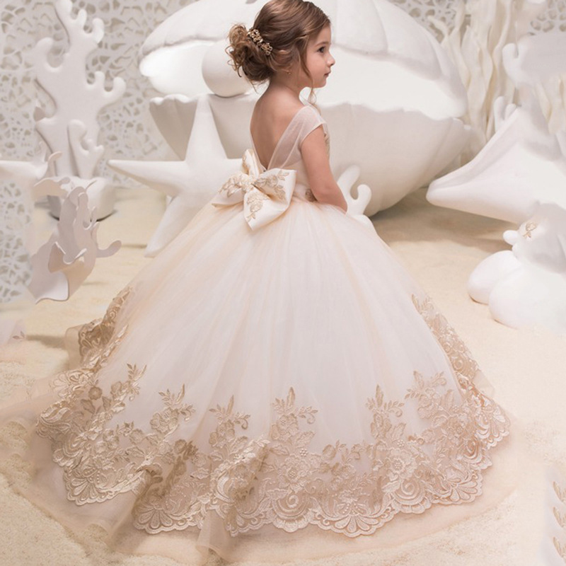 AI Performance Catwalks Birthday Tailing Lace Europe And America Women's Dresses Of Bride Fellow Kids New Style Children Sleevel