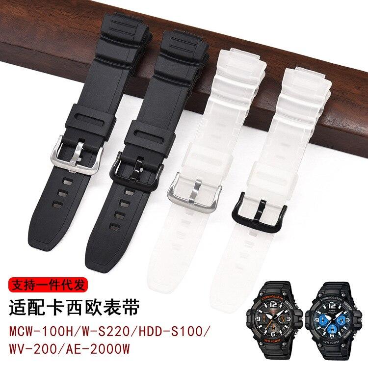 Watch Band For Casio MCW-100H/110H/W-S220/HDD-S100  WV-200/AE-2000/2100 Resin Strap 16mm Watch Accessories Silicone Strap