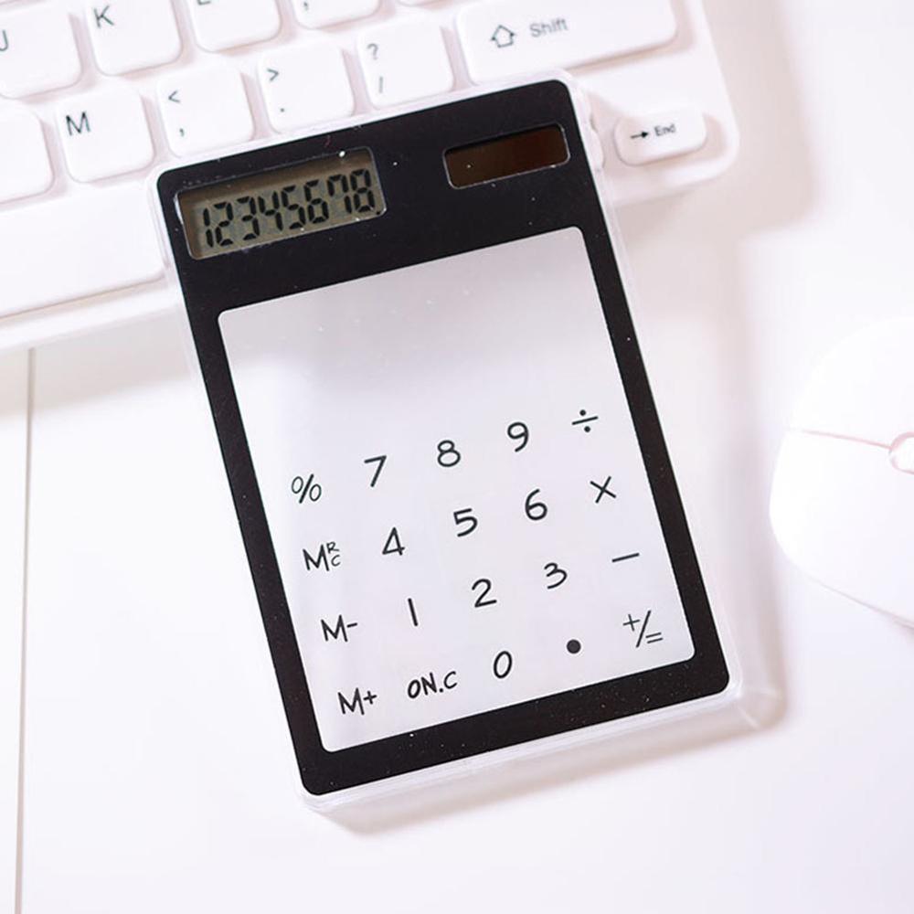 Полезные ЖК-дисплей 8-значный Экран ультра тонкий прозрачный Ясно солнечной CalculatorStationery научный калькулятор для офиса - Цвет: G