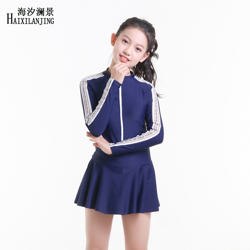 Hai Xi Lan Jing 2019 New Style GIRL'S Swimsuit Big Boy Students 12-15 Sun-resistant Long Sleeve Skirt-One-piece Swimming Suit