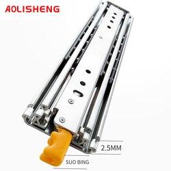 AOLISHENG 76mm Wide Heavy Industrial Locking Telescopic Drawer Slide Rail Slide 3 fold Slide Railtelescopic rail