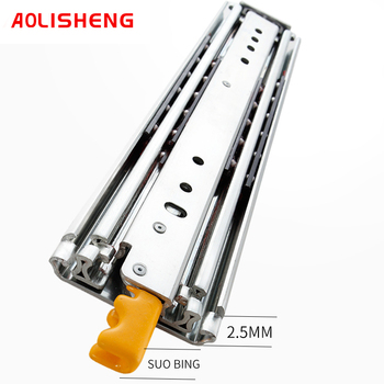 Aolisheng 76Mm Breed Zware Industriële Vergrendeling Telescopische Lade Schuif Rail Slide 3 Fold Slide Railtelescopic Rail