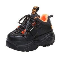 Zapatillas de deporte con plataforma para Mujer, zapatos informales de suela gruesa, con cordones, para invierno