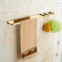 Soild Brass Bathroom Towel Rack Fixed Bath Towel Holder Bath Shelf Towel Rail/Bars With Hooks 51 cm Wall Mounted Gold/Black