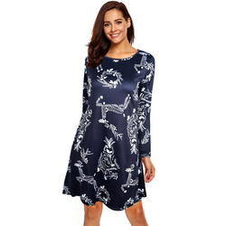 S-5XL Plus Size Christmas Day O Neck Long Sleeve Deer Snow Man Print Dress Women Clothes Casual Loose Knee Length Party Dresses 4