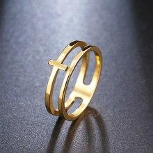 Винтажное ажурное модное женское золотое кольцо с крестом, женское богемное свадебное кольцо, цепочка на подарок, ювелирные изделия из нерж...