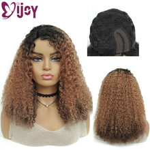 Wigs U-Part Human-Hair Curly IJOY Afro Kinky Full-Machine Omber Brown Black Color Women