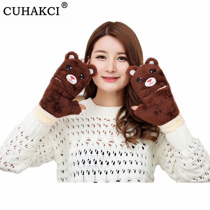 CUHAKCI Ladies Cashmere Mittens Cute Cartoon Winter Gloves Wrist Thicken Bear High Quality Guantes Mujer Windproof Glove Warm