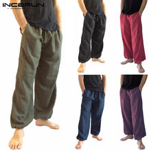 Men Harem Pants Elastic Waist Loose Cotton Solid Color Joggers Wide Legs Trousers Men Vintage Casuual Long Pants S-5XL INCERUN(China)