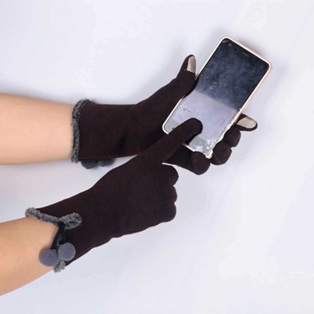 Bola peluda pequeninos fofo inverno quente dedo cheio mão luvas de inverno moda feminina esqui vento proteger as mãos luva deri eldiven #2