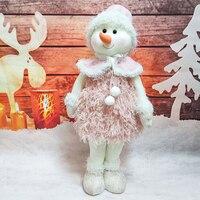 Rosa Schneemann Plüsch Puppen Plüsch Stofftier Weihnachten Dekoration Festival Geschenk für Kinder Geburtstag Neue Jahr Navidad Hause Ornamente