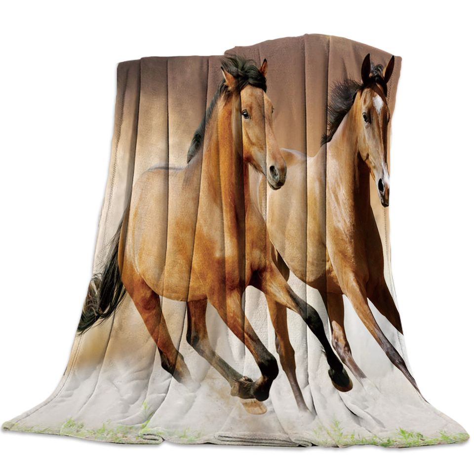 Flannel Blankets Brown Running Horse Animal Blanket Cushion Warm Throws On Sofa Bed Home Bedspread Travel Fleece Blanket Blankets Aliexpress