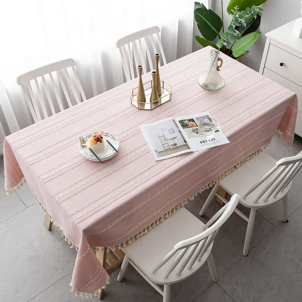 Hollow Tassel Jacquard Cotton Linen Tablecloth Table Cover Dining Coffee Desk Cloth Party Christmas Hotel Birthday Decoration