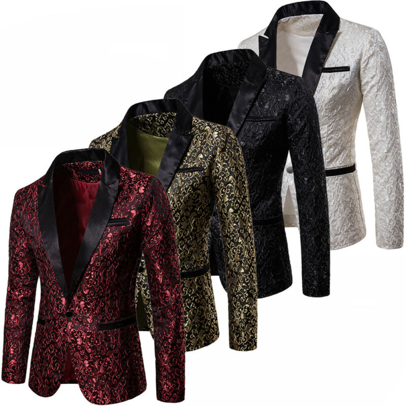 New Fashion 2019 Men's Suit Jackets Gold Jacquard Fabric Jacket With Luxury Lapel For Stage Party Tight Dress For Wedding Coat