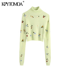 KPYTOMOA Women 2020 Fashion Floral Embroidery Cropped Knitted Sweater Vintage High Neck Long Sleeve Female Pullovers Chic Tops