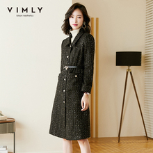 Jacket Trench-Coat Woolen Elegant Women Outwear Collar Single-Breasted Fashion Turn-Down