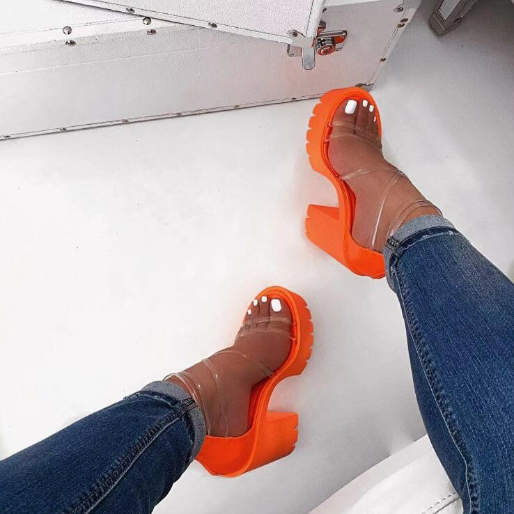 Ha3e115d861d344839c69832e76478b98L Autumn new women's high-heeled cross PVC straps outdoor travel sandals rubber bottom non-slip slippers increased sandals
