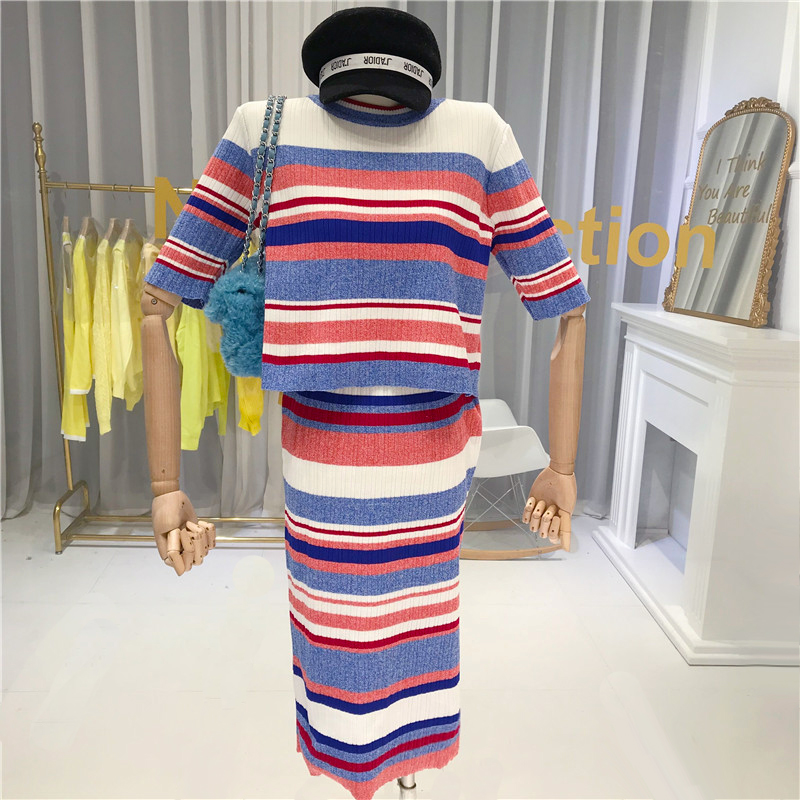 ALPHALMODA 2020 Spring Summer Ladies Hit Color Striped Women Short-sleeved Sweater + Straight Skirts 2pcs Casual Set