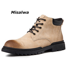 Misalwa New Men Desert Tactical Military Boots Lace-up Keep Warm Army Combat Sand Black Brown Popular Ankle Leather Shoes