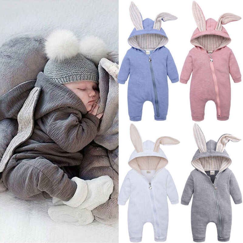 Newborn Infant Baby Boy Girl Rabbit Ears Hooded Romper Jumpsuit Long Sleeve Solid Color Playsuit Zipper Hoddies Clothes 0-24M