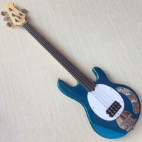 4 string fretless bass guitar metallic blue color without fret basswood body 864mm scale electric bass guitar good quality