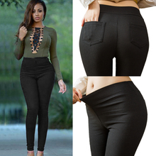 Plus Size Women Pencil Pants Cotton Trousers 2019 New Pocket Trousers Slim Jeggings Denim Skinny cheap YEJABOR Ankle-Length Pants spandex Elastic Waist Flat LGS47 High Solid Formal Broadcloth Pockets Plenty Of On Stocks Drop Shipping Retail Wholesale