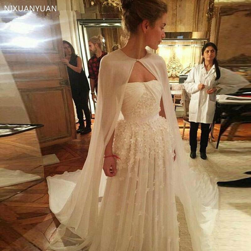 Long Chiffon One Layer Wedding Cape Simple Elegant Bridal Jacket Without Sleeve Cheap Boleros