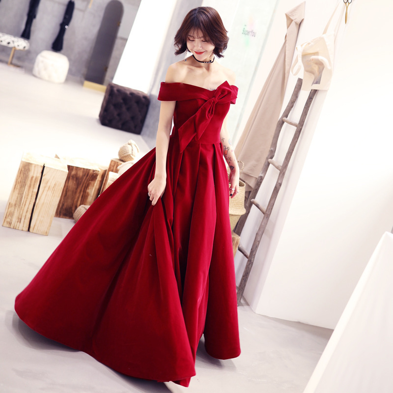 2020 Top Fashion New Gengli Toast Bride 2020 Autumn  Noble Show Thin Temperament Wedding Long Party Evening Dress