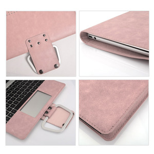 Image 3 - PU Leather Laptop Case for MacBook Pro 16 Inch Angle Guard Shockproof Stand Tablet Case for MacBook Pro Notebook Case + Bracket