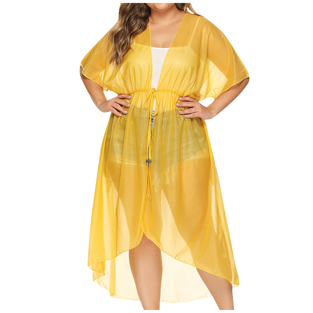 Women Short Sleeve Pure Color Chiffon Cardigan Irregularity Smock Beach Dress Lace Up Beach Cover Up Beachwear Bathing Suit Cape