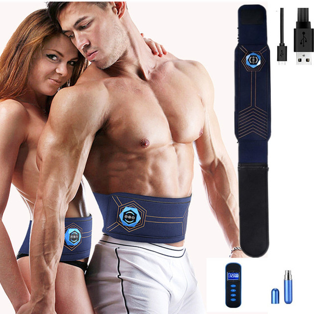 Rechargeable AB Stimulator Slimming Belt Adjustable Gel-Free Permanent Use Waist Trimmer Abs Toning Workout Belt for Weight Loss