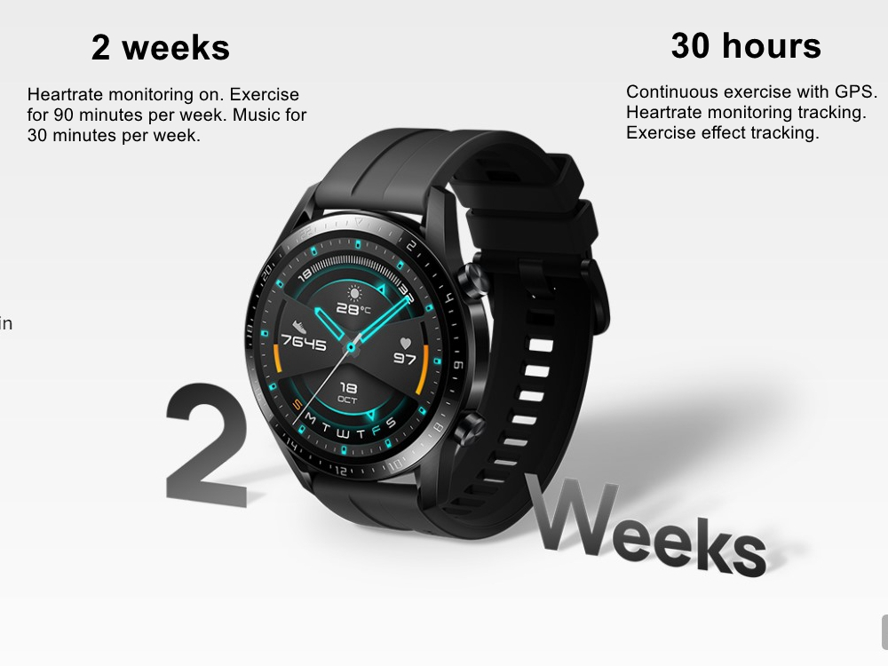Original Huawei Smart Watch GT 2 GPS Two-Week Battery Life Waterproof Phone Call Heart Rate Tracker For Android iOS (6)