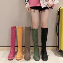 2019 nowe modele zimowe buty śniegowe damskie buty na kolanach damskie w tubie długie buty Feminino Zapatos Mujer Bota kolorowe tanie tanio NoEnName_Null Konopi Podkolanówki Szycia Stałe 4592 Dla dorosłych Plac heel Jazda Jeździectwo Płótno Mesh (air mesh)