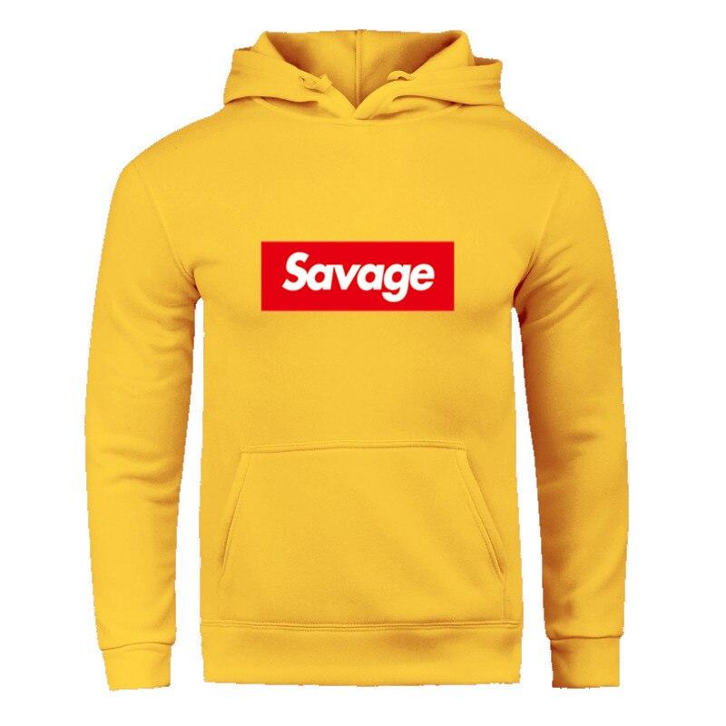 Новый спортивный костюм для мужчин, комплект спортивной одежды, флисовая толстовка с капюшоном с надписью «savage», модные толстовки для