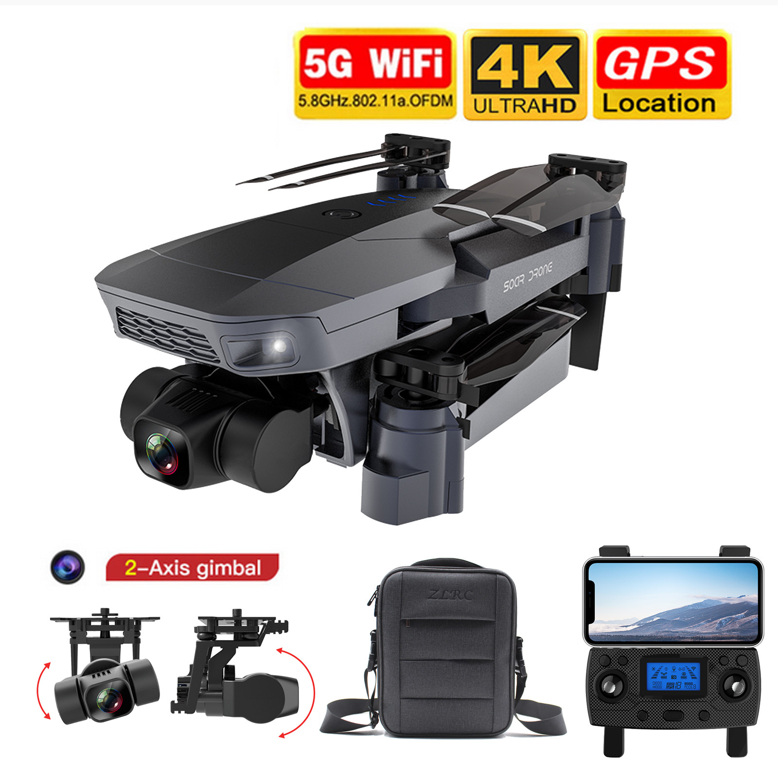 Ha3e242eb9443426bacb0574f2b115720H - 2020 New Sg907 Pro 5g Wifi Drone 2-axis Gimbal 4k Camera Wifi Gps Rc Drone Toy Rc Four-axis Professional Folding Camera Drones